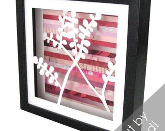 cherry blossoms- shadowbox made from recycled magazines, spring, nature, blooms, bush, pink, white