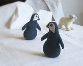 Eco-friendly PENGUIN Soft Sculpture / Plush TOY - PELUCHE Endangered Babies Series, Vegan, Made with an Eco-Felt & Organic Cotton Stuffing