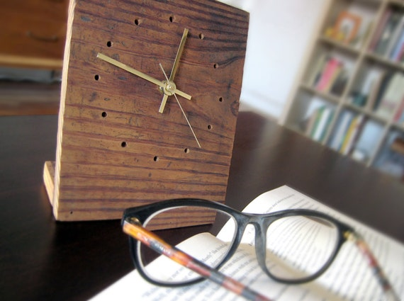 Small RECLAIMED Douglas Fir WOOD Tabletop Clock - Limited Edition ...