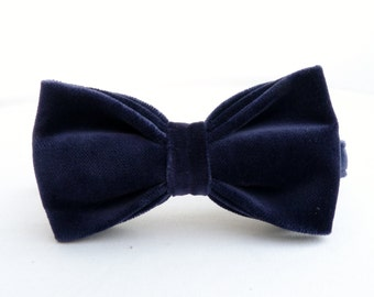 Velvet Bow Tie - Midnight Blue