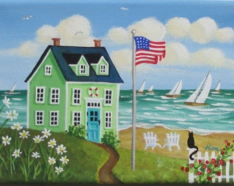 Summer Breeze Folk Art Print