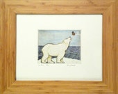 "Original ""Sea Bear"" Drypoint & Watercolor Print"