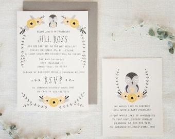 Baby Shower Invitation & Registry Card - Baby Bird