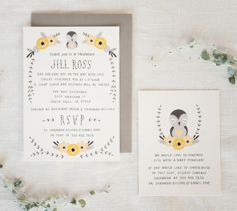 baby shower invitation registry card baby bird