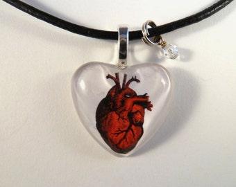 Heart on Heart Glass Tile Altered Art Pendant