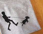 Tshirt - Women's Boy Walking Dog Screen Print Tee