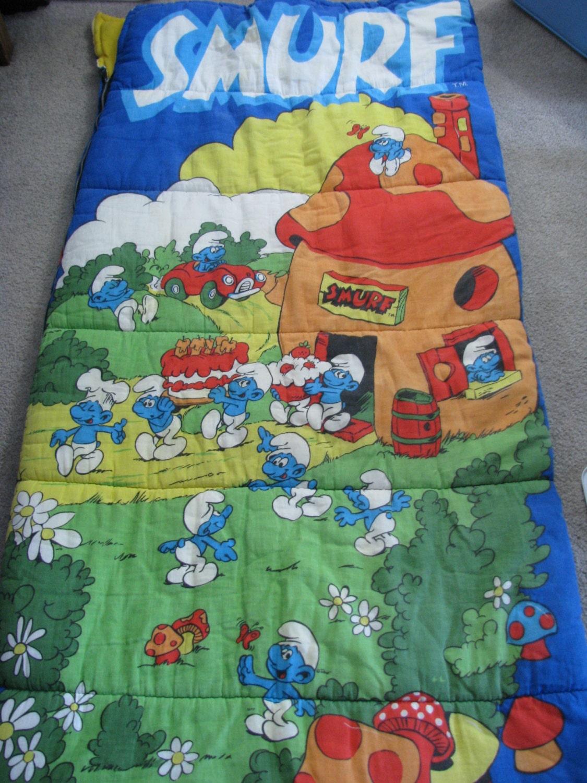 Vintage Smurfs Sleeping Bag Peyo 80s