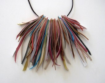 Fringe necklace, leather bohemian necklace, multicolor necklace, colorful jewelry, long necklace