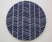 Mouse Pad mousepad / Mat - Round or rectangle -  herringbone chevron navy blue