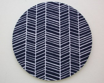 Mouse Pad mousepad / Mat - Round or rectangle -  herringbone chevron navy blue