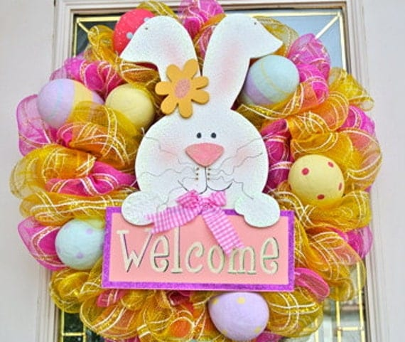 Pink and Yellow Mesh Wreath with  Easter Eggs and Easter Bunny  Welcome