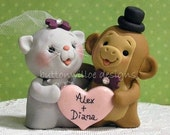 Custom handmade wedding cake toppers / You can choose the animals