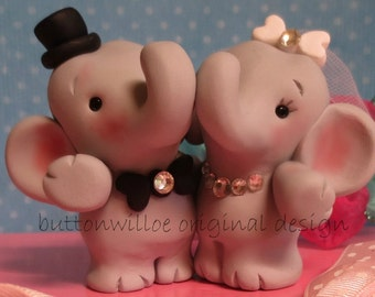 Hugging Elephants Never Forget Funny Cute Wedding Cake Topper Handmade Sculpture