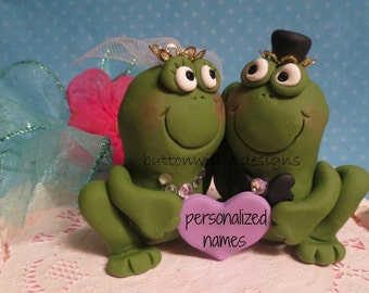 Frog Prince and His Princess Bride Funny Wedding Cake Topper Personalized on Pink Heart