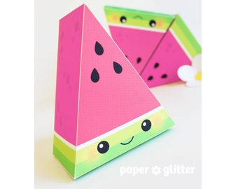 Watermelon Slice Paper Cake favor baking party box printables PINK - Editable Text Printable PDF