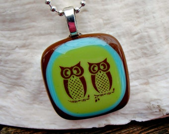 Necklace - Loving Owls- Green-Blue-Brown- Fused Glass Pendant