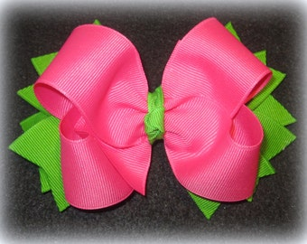 Pink Hairbow, Girls hair Bows, Boutique Hair Bow, Boutique Hairbow, Lime Hair Bow, 5 Inch hairbow, Big Bow, Girls Big Hairbow, Baby Hairbow
