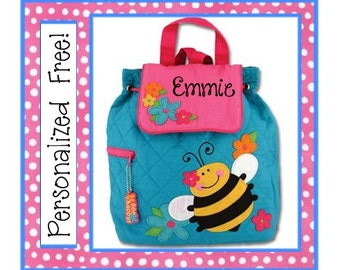 36 Fonts- Toddler Personalized BUMBLE BEE Quilted Girl's Backpack- Preschool, Day Care, Diaper Bag