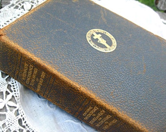 Antique book, Mary Baker Eddy, leather covers and fabric page marker, religious book, worn leather book, 1900s christian book, shabby book
