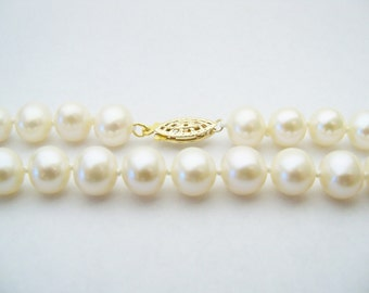 Knotted pearl necklace AA Grade 7mm white freshwater pearls with 14k solid white gold filigree clasp