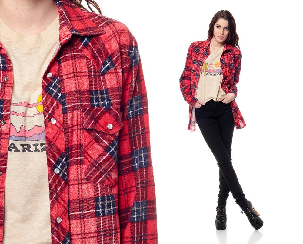 Red Flannel Shirt 90s Pearl Snap Plaid Navy Blue LUMBERJACK