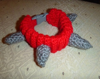 "SPIKED PET COLLAR Crochet Dog Cat - Humorous - Made to order - up to 14"" neck"