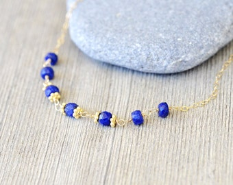 Lapis Gold Necklace - Lapis Lazuli Faceted Rondelle, 14k gold filled wire wrapped, 24k vermeil, everyday, simple, royal blue