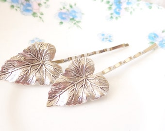 Silver Leaf Hair Pin Set - Bobby Pins - Woodland Collection - Whimsical - Nature - Bridal