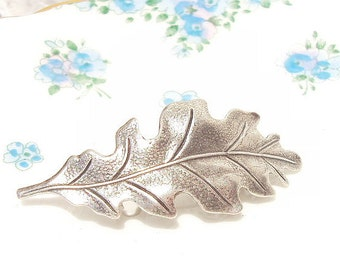 Ox Sterling Silver Plated Leaf Hair Barrette - Oak Leaf - Woodland Collection - Whimsical - Bridal - Wedding Hair Accessory