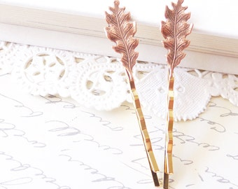 As Seen In Smitten Magazine - Copper Leaf Bobby Pins - Petit Hair Pins - Oak Leaf -  Woodland Collection - Whimsical - Nature - Bridal