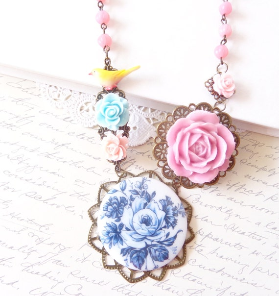 Bonny Blue -  Beaded Flower Garden Necklace - Vintage Cameo - Delft Blue