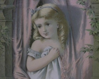 Pretty Little Girl w/ Ringlet Curls in Nightgown -Looking out Window - Victorian Card -Art Print - 1800's