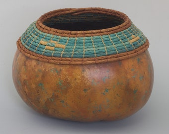 Turquoise and Copper Gourd with Coiled Rim - Item 558 by Susan Ashley