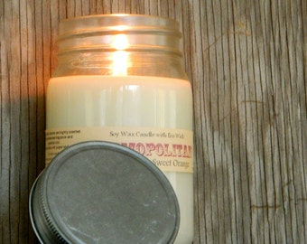 Orange Cranberry Mason Jar Candles / COSMOPOLITAN / Hand Poured Soy Candles / Handmade Christmas Candle