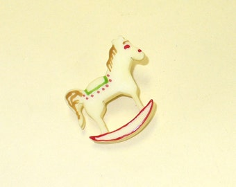 Vintage 80s Rocking Horse Pin DEADSTOCK