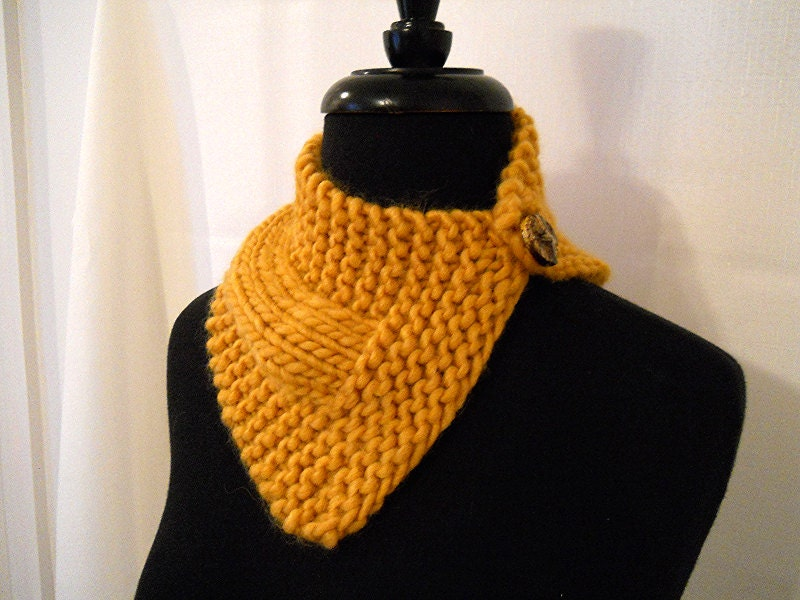 Free Knitting Patterns For Beginners Baby Blanket : Knit Triangle Scarf Bandana Scarf Gold Scarf Gift by BSBoutique