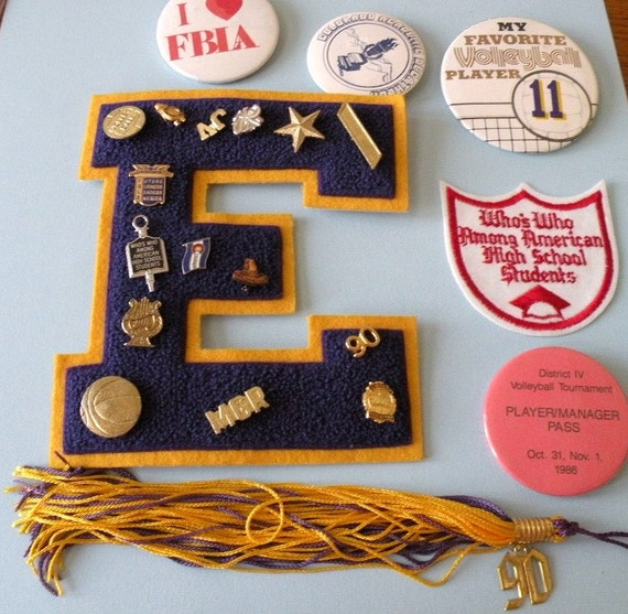 1986 to 1990 high school varsity letter pins badges With high school varsity letter pins