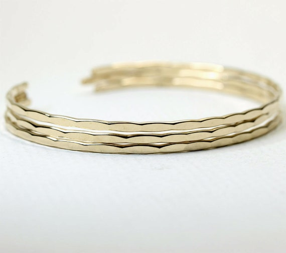 3 Thin Ophelia Cuffs, yellow gold filled, custom size, handmade stacking cuffs with free US shipping