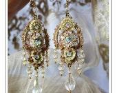 Last Pair... Let Them Eat Cake // Marie Antoinette French Vintage Inspired Hand Embroidered Fine Crochet Chandelier Earrings
