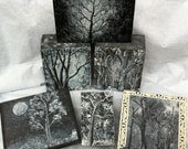 Jewelry Box, Keepsake Wood Cigar Boxes, Hand Painted, Black and White tree, Moon