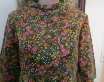 Womens Casual Dress Green Floral Print-  Mod  Womens Vintage Dress