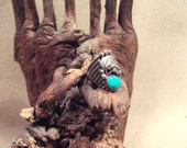 Native American Indian turquoise ring - antique in sterling silver - size 81/2-10-10/2-11-11/2  SALE FREE SHIPPING