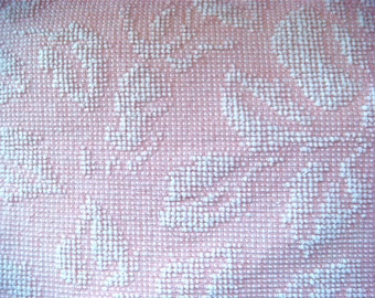 Fieldcrest Cotton Candy Pink Cabbage Roses Vintage Cotton Chenille Bedspread Fabric 18 x 24 Inches