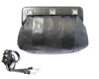 Women's Leather Purse, Evening Leather Purse, Large Leather Purse, Leather Clutch - in Classic Black  (No.1071)