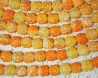 39 Frosted Agate Beads Orange Yellow 10mm Crackle Matte Finish Acid Etched Veined (5192)
