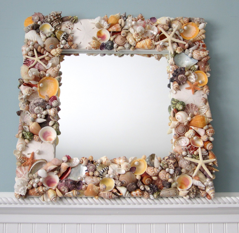 Seashell mirror beach decor shell mirror nautical decor for Seashell decor
