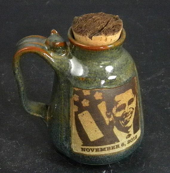 Obama Travel Mug With Natural Bark Cork Limited Edition Election Night
