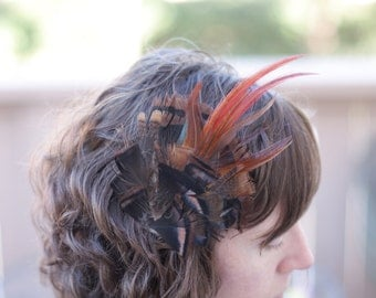 Turkey and Pheasant Feather Fascinator - Hair Comb
