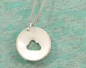cloud necklace enameled sterling silver with lilac pearl cord