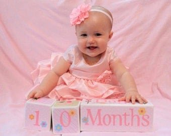 Wooden Age Blocks for Baby . Photo Cubes . Photo Prop Blocks
